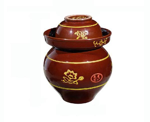 古铜釉下彩泡菜坛